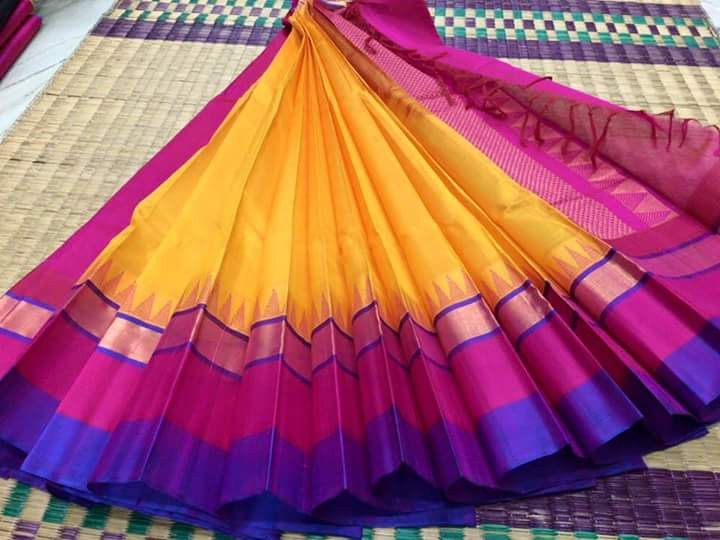 Mango orange with pink & purple border pure kanchi silk cotton saree