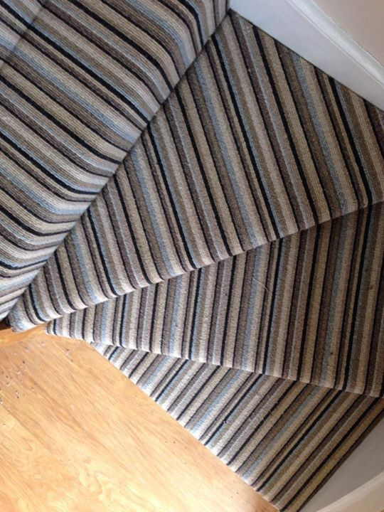 Striped Carpet Ed On Turned Stairs By Victoria Carpets
