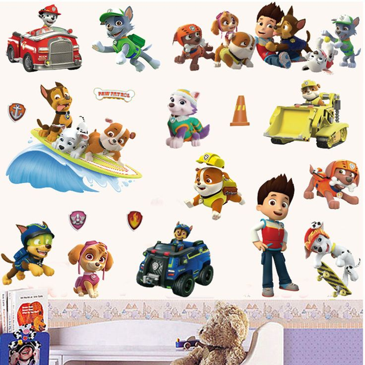Decorative cartoon paw patrol wall stickers for kids bedroom living room self-adhesive wallpaper pvc diy wall decals