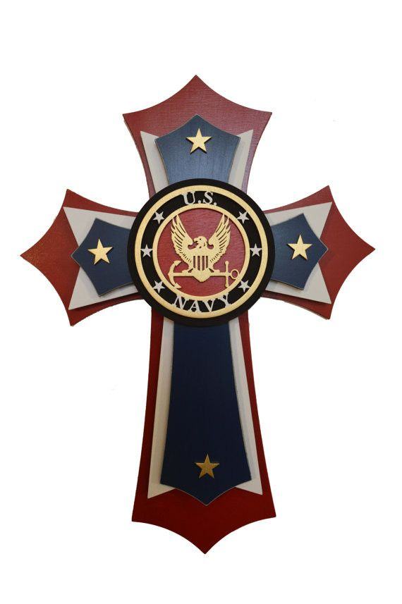 "This is a very unique and beautiful layered cross. The cross is made from MDF and Birch Wood, that is stained and hand painted. There area total of 5 layers that make up this cross. Size: 11"" x 15"" In"