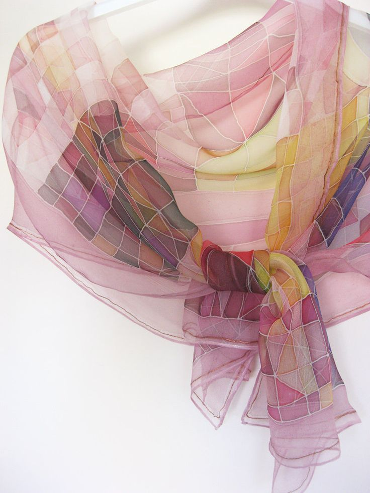 Silk chiffon scarf Hand painted Geometric by DEsilk.