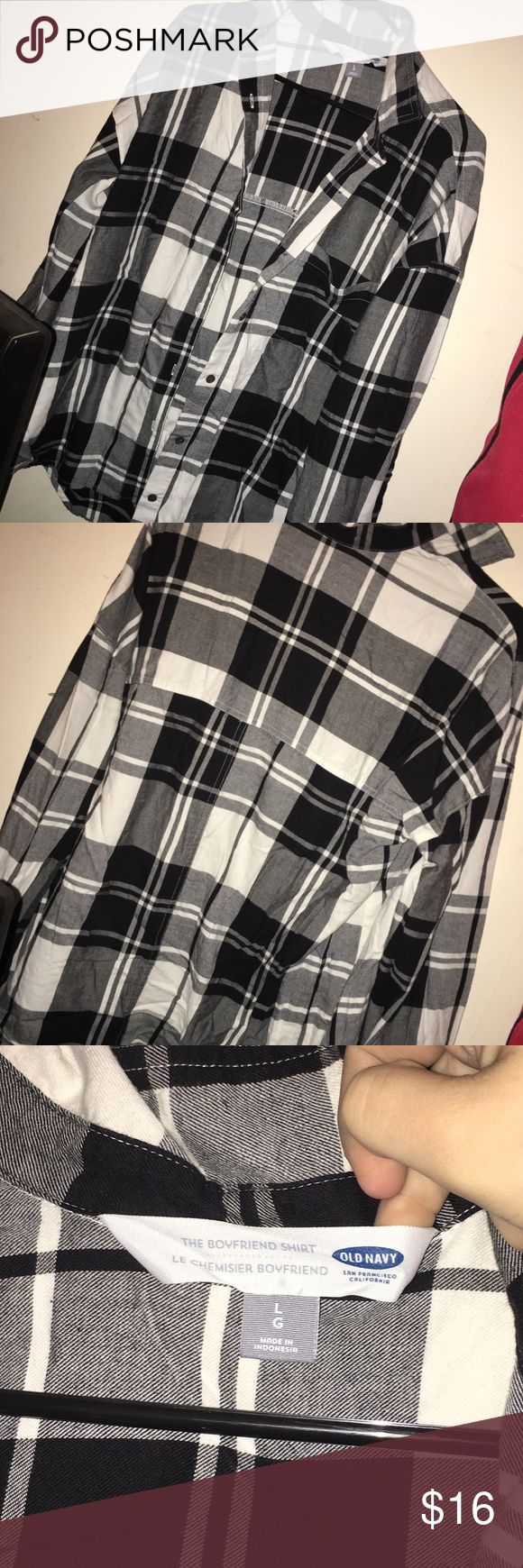 Black and white Plaid shirt (new) Brand new, I begged my mom to get this for me and literally never wore it lol. It's a size large and is from old Navy. • -Any questions,ask, thank you! -Wanna save money on shipping and get a discount on more items? Create a bundle with 2+ items and I'll offer a discount price! Contact me for more details -Make sure to go look at my closet&follow me! I have tons of clothes(of all ages & sizes literally) , makeup, electronics, art prints, art supplies, games…