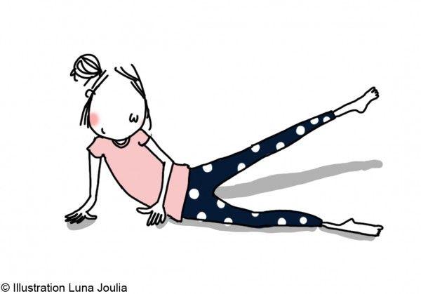 Allongée sur le côté en appui sur le coude, tendez vos jambes et lentement, soulevez la jambe supérieure aussi haut que vous le pouvez, maintenez la tension 5 secondes puis relâchez. Après la série, changez de côté. Répétez le mouvement 10 fois pour chaque jambe.