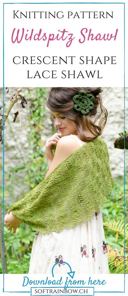 Wildspitz Shawl knitting pattern by Soft Rainbow Designs. This shawl is a beautiful lace shawl for knitters with some lace knitting experience. The crescent shape and fine lace result a feminine look. The pattern is highly adjustable with detailed description. It contains written and charted instructions. Click and get your copy now!