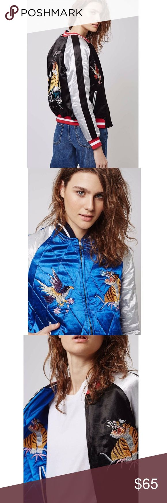 Topshop Reversible Embroidered Bomber Jacket Beautiful embroidery, great condition Topshop Jackets & Coats