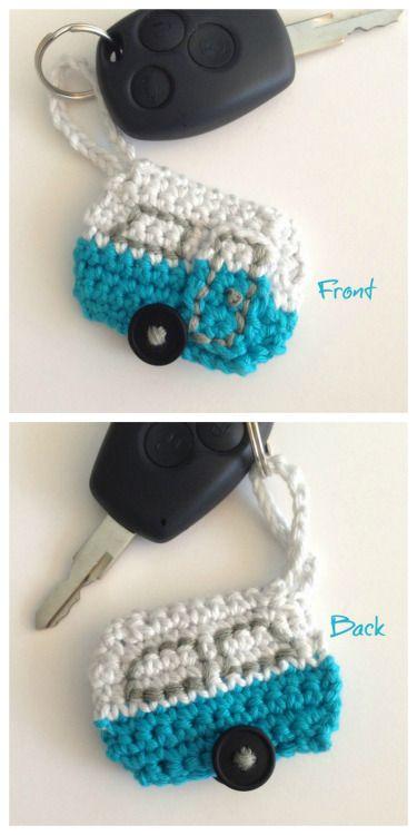 DIY Crochet Caravan Keychain Pattern from CrocheTime. Use up...