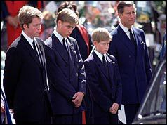 Photos of Princess Diana's funeral | Diana's brother, two sons and former husband watch the hearse arrive
