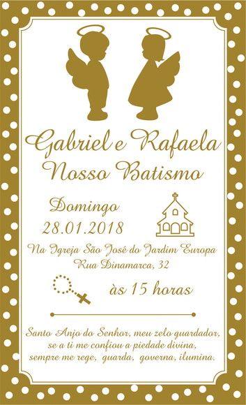 Convite Batizado Casal Gêmeos Anjinho Dourado Batizado Baby E