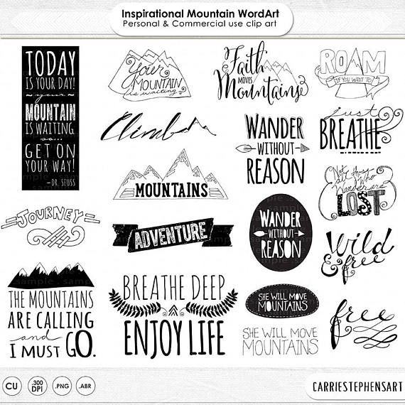 Mountain Word Art Png Inspirational Quote Clip Art Etsy Art Quotes Inspirational Word Art Word Art Quotes
