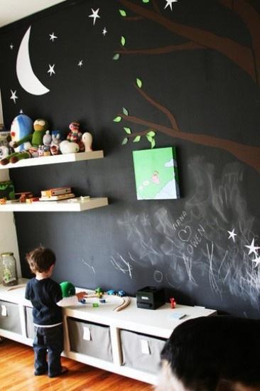 Schoolbordwand in de kinderkamer. Door Mara
