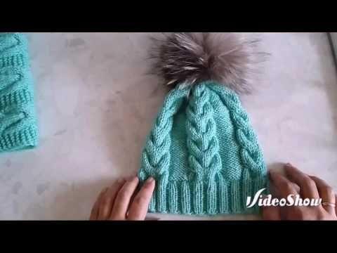 МК (описание) шапка с косами и снуд бирюзового цвета - YouTube