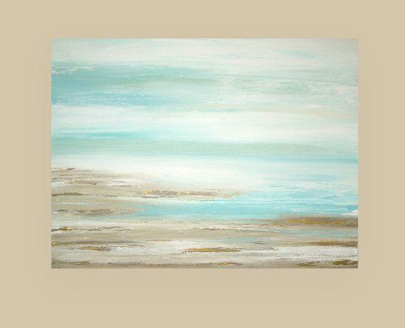 """Shabby Chic Art Original acrylique abstrait plage tableau intitulé: Un rêve d'été 13 30x40x1.5 """"par Ora Birenbaum"""