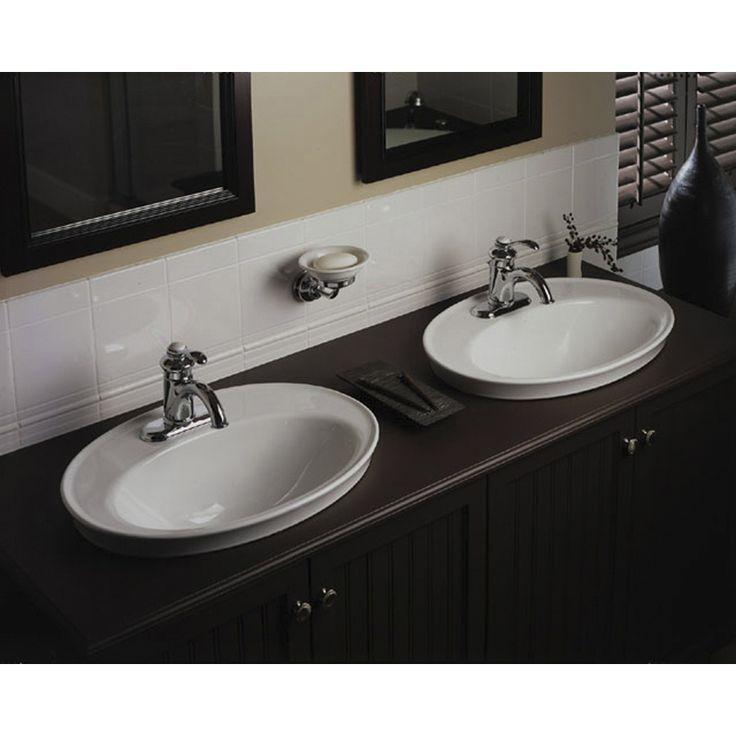 Shop KOHLER Serif White Drop-in Oval Bathroom Sink with Overflow at Lowes.com