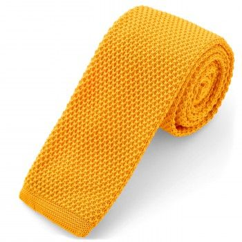 Cravatta gialla lavorata a maglia