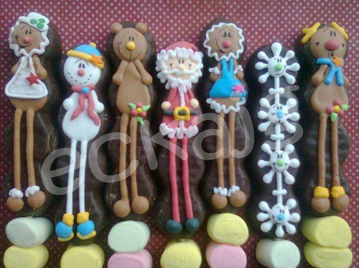 paletas de bubulubus decorados de navidad