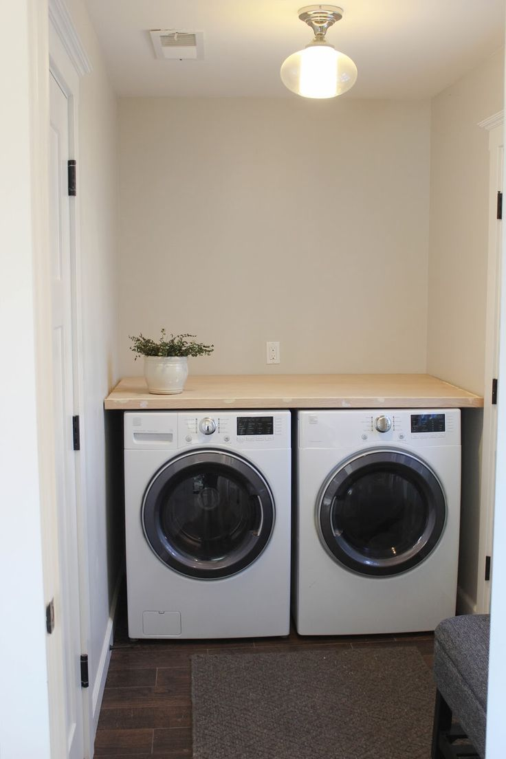 Chic little house diy laundry room countertop mud room for Laundry room countertop over washer and dryer