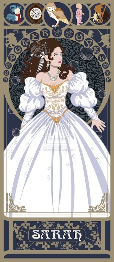 """Sarah from the film Labyrinth: """"You have no power over me"""". Art Nouveau non-Disney princesses by Susana Polo at http://www.themarysue.com/art-nouveau-heroines/#5"""