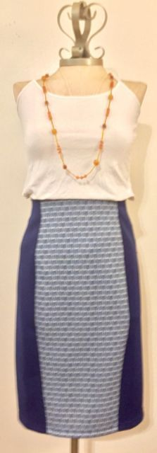 NEW WITH TAGS Daisy Fuentes (Small) Blue High Waisted Stretch Pencil Skirt | eBay