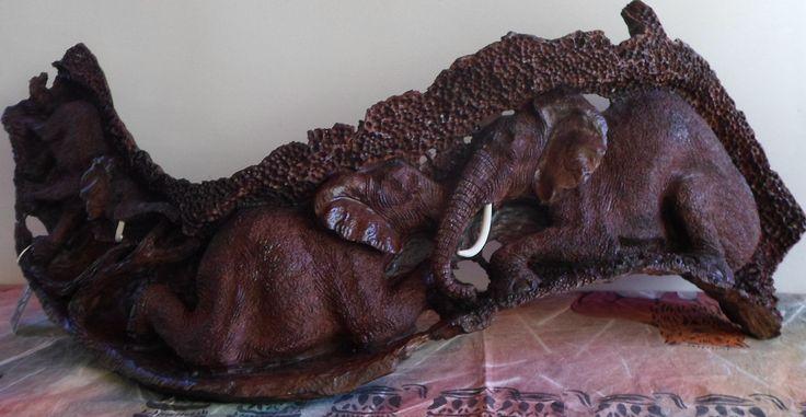 African Elephant Group Ironwood Tree trunk Carving by Master Carver James Chitambire, Zimbabwe