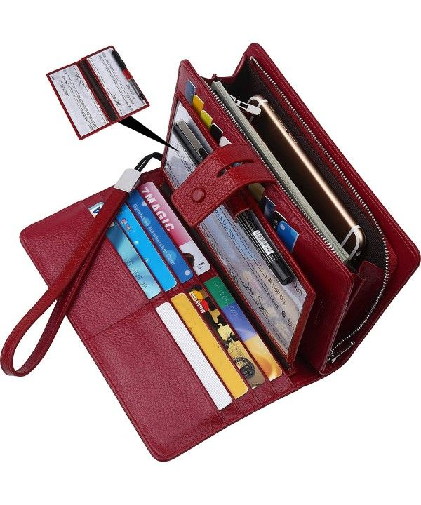 Pockets for women-RFID Blocking Actual Leather-based checkbook pockets clutch organizer-checkbook holder – Darkish Crimson – C118DH89HW0