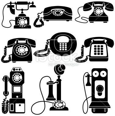 vintage telephones black and white | Royalty Free Stock Vector Art Illustration