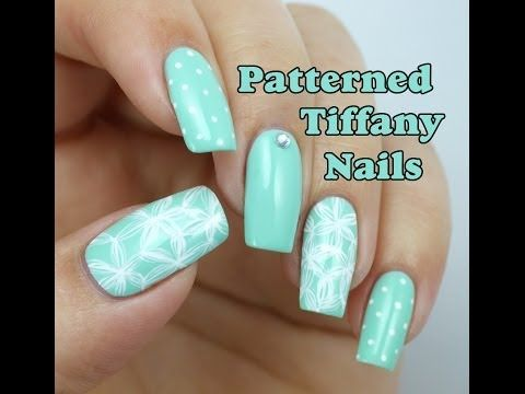 I like the sketchy flowers on the thumb and ring finger here =)Patterned Tiffany  Blue Nail Art Design - Best 25+ Tiffany Blue Nails Ideas On Pinterest Tiffany Nails