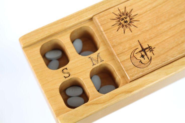 Day and Night Weekly Pill Box, Medium Depth, Solid Cherry Hardwood Top and Bottom, Medication Box, Paul Szewc http://etsy.me/20mgDVE