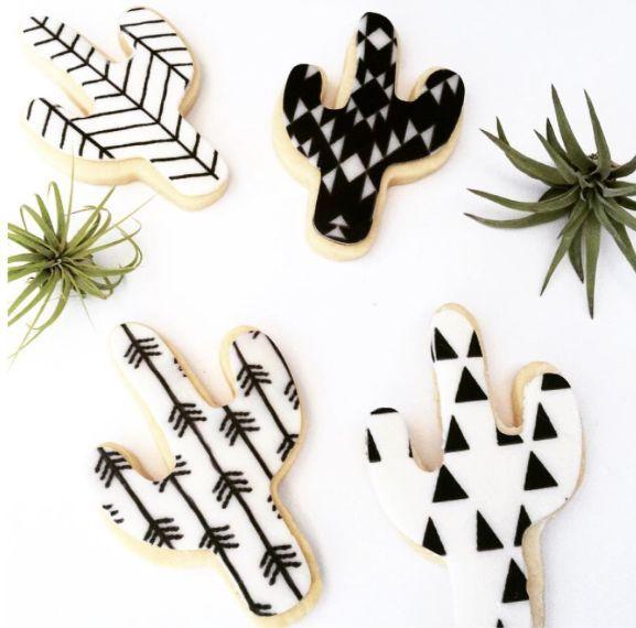 black and white cactus cookies