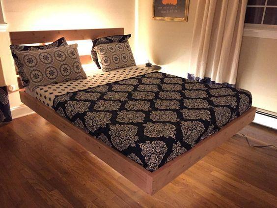 Floating Bed Frame with led