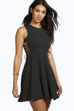 Lisandra Lace Up Side Textured Skater Dress