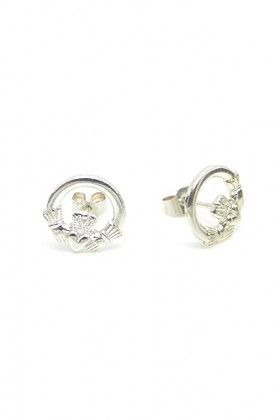 Sterling Silver Celtic Claddagh Studs - Lee Valley Ireland
