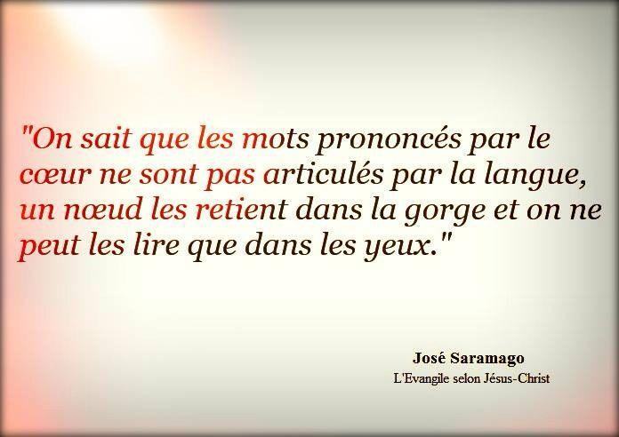 """""""On sait que les mots prononcés par le coeur ne sont pas articulés par la langue, un noeud les retient dans la gorge et on ne peut les lire que dans les yeux."""" - [José Saramago, L'Évangile selon Jésus-Christ]"""