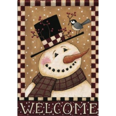 Country Primitive Winter Welcome Snowman Double Sided Garden Flag 13 X 18