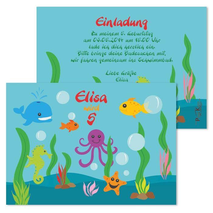Einladungen zum Kindergeburtstag Unterwasserwelt   #Seaworld #Unterwasserwelt #Kindergeburtstag