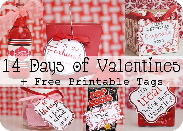 14 Days of Valentines (free printables): Valentines Ideas, Gifts Ideas, Printable Tags, Valentines Day Ideas, Cute Ideas, Valentine'S S, Fun Ideas, Valentinesday, Free Printable