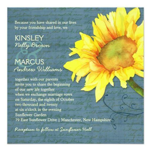 Rustic Dusky Blue Sunflower Wedding
