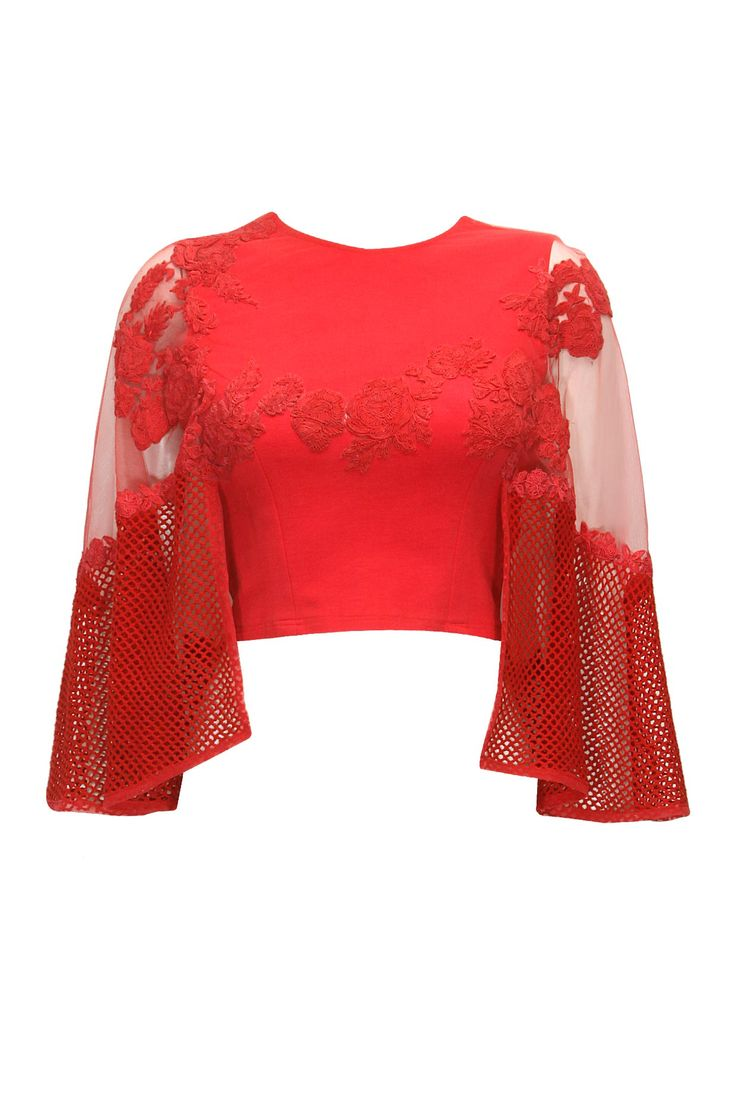 Scarlet red floral embroidered cape top by Ridhima Bhasin. Shop now: http://www.perniaspopupshop.com/designers/ridhima-bhasin #cape #shopnow #ridhimabhasin #perniaspopupshop