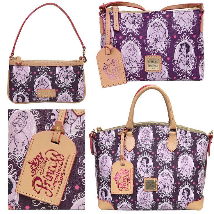 Disney Princess-themed Dooney & Bourke handbags designed by Disney Design Group. Select bags will contain a specially designed Princess Half Marathon 2015 hangtag.