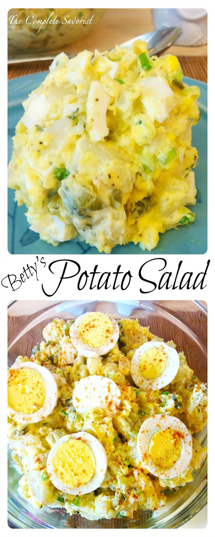 Betty's Potato Salad ~The Complete Savorist Family recipe for potato salad that is simple to make and beyond delicious; great for holidays, picnics, barbecues, or simply eating out of the bowl on a Wednesday.