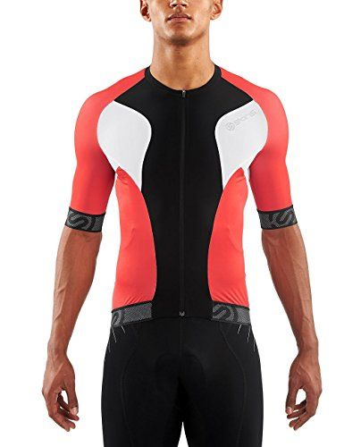 SKINS Mens Cycle Short Sleeve Tremola Jersey BlackWhiteRed Large -- See  this great product. a644eb2ab