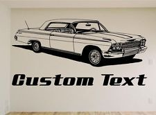 1962 Chevy Impala, Car Wall Decal, Muscle Car Decals, Muscle Car Sticker, Auto