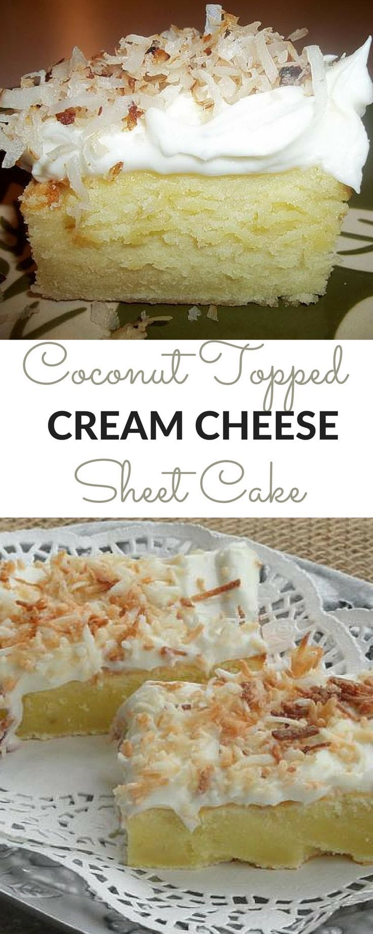 """Coconut Topped Cream Cheese Sheet Cake 