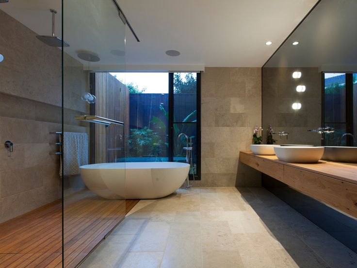 Medium Tone Wood Cabinets Freestanding Tub Wall Mount Lights Timber Bench Frameless Glass Speakers Polished Concrete Stone Tile Vessel Sink 34 Modern Bathroom Design Ideas For Your Private Heaven