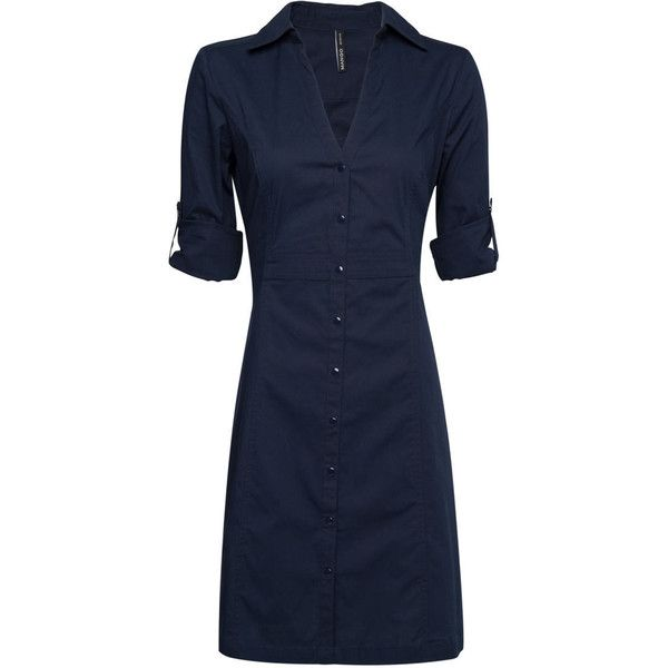 MANGO Fitted shirt dress ($25) ❤ liked on Polyvore featuring dresses, tops, vestidos, navy, navy blue dress, shirt-dress, fitted dresses, shirt dress and long shirt dress