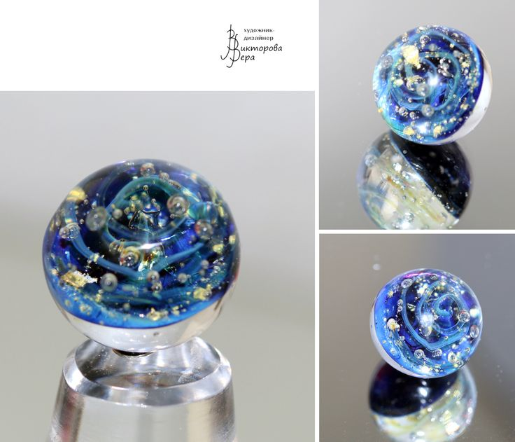 "Collection pendants ""Galaxy and the planet."" Artisan lampwork handmade sterling silver"