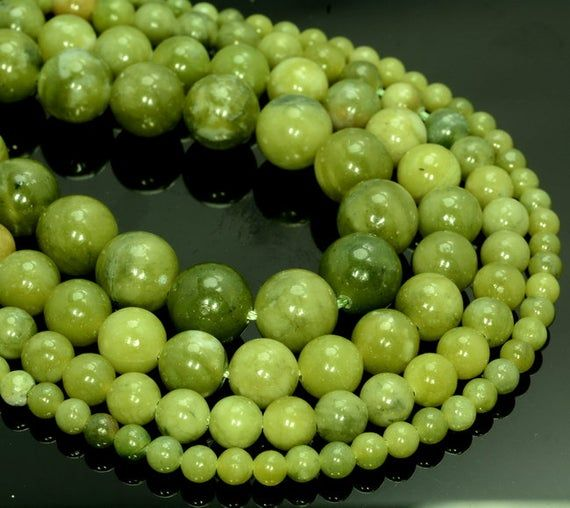 6MM OLIVE JADE GEMSTONE OLIVE GREEN ROUND LOOSE BEADS 15.5/""