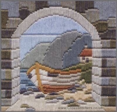 Boat Thro' Archway Silken Long Stitch Kit from Derwentwater Designs and designed by Rose Swalwell.