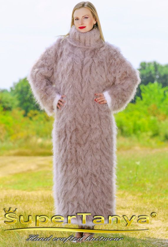 Hand Knit soft and fuzzy mohair long sweater dress in beige by SuperTanya