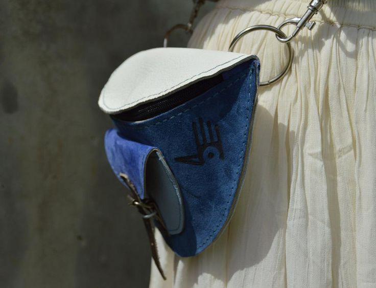 NERKA ZAMSZ + LICO biało-niebieska - CZAJKACZAJKA - Torebki skórzane