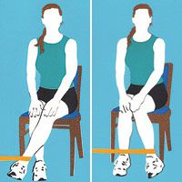 Strengthening for knee pain - Seated Rotator: Sit so band is anchored to right and around left ankle. Cross ankles. Keeping knees together, rotate left leg outward about 12 inches. Return to start.